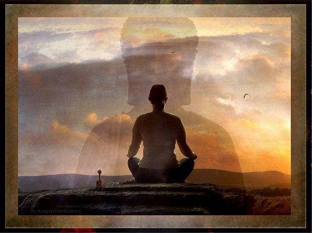 original yoga painting omwoman yoga meditate. Photo By Flickr User H.koppdelaney. Original Yoga Painting Omwoman Meditate