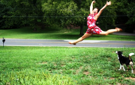 Sarah Bretton leaping